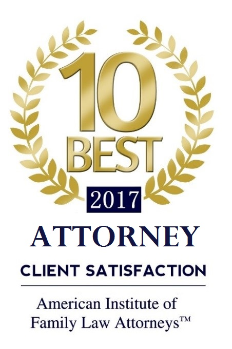 Award Badge 10 BEST Attorney Client Satisfaction 2017 by American Institute of Family Law Attorneys