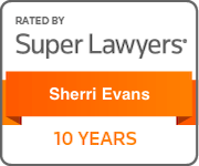 Award Badge Texas Super Lawyers 10 Years for Sherri Evans