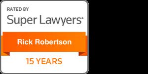 Award Badge Texas Super Lawyers 15 Years for Rick Robertson