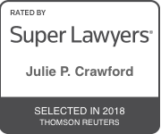 Award Badge for Texas Super Lawyer Julie Crawford by Thomson Reuters