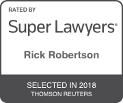 Award Badge for Texas Super Lawyer Rick Robertson by Thomson Reuters