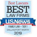 Award Badge US News and World Report Best Law Firms - Family Law - Tier 1 - Dallas/Fort Worth