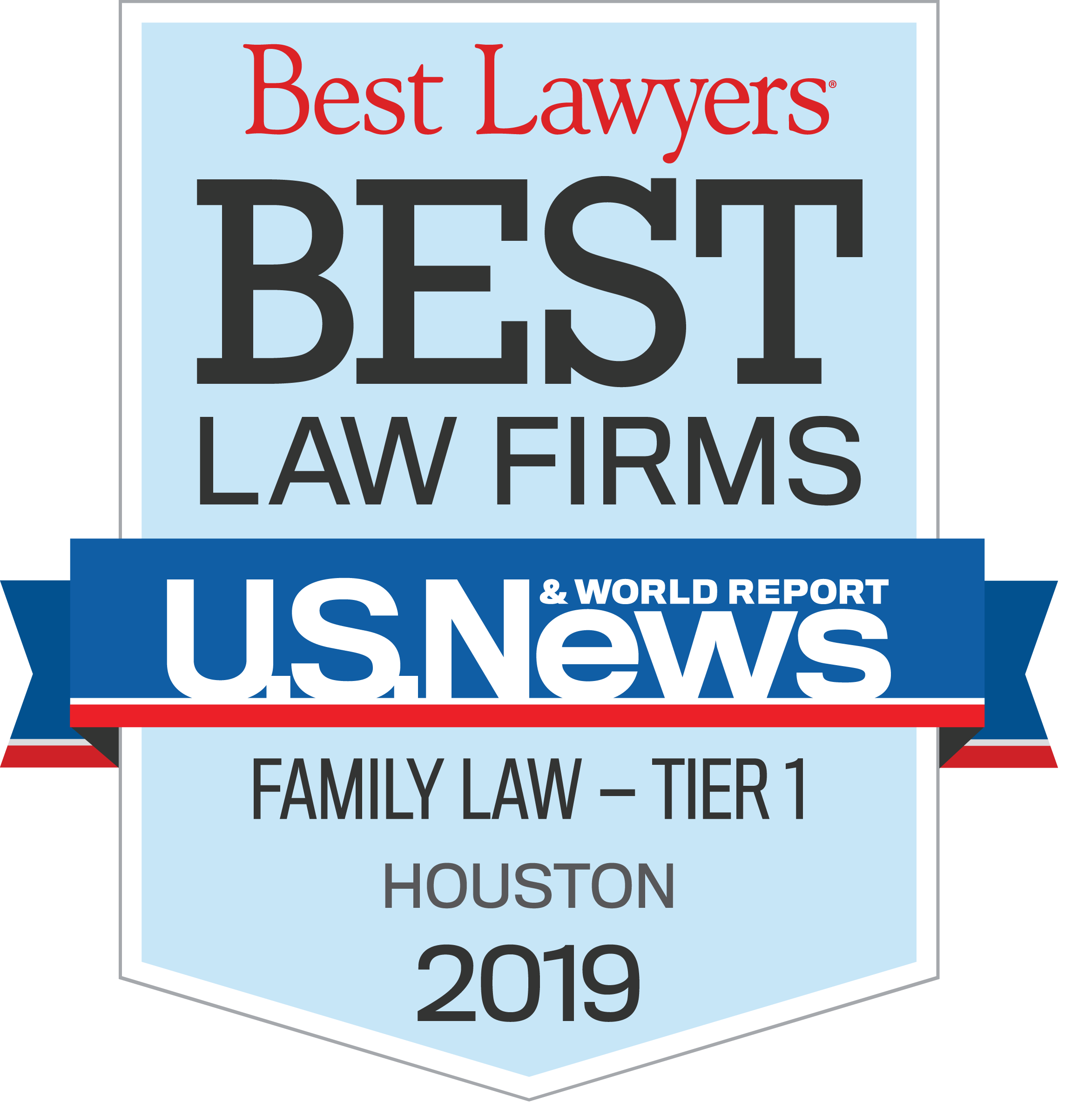 Award Badge US News and World Report Best Law Firms - Family Law - Tier 1 - Houston