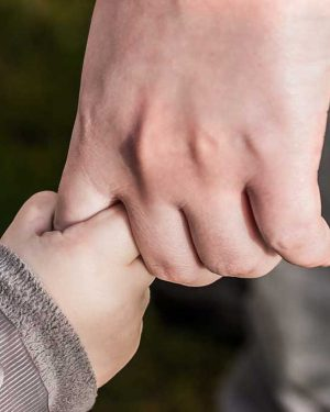 Small Childs Hand Holding Finger of Adult Hand