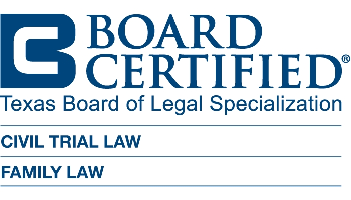 Board Certified in Civil Trial Law and Family Law by Texas Board of Legal Specialization Badge