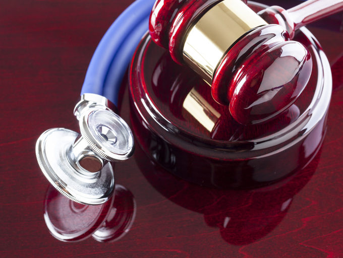 Gavel and stethoscope representative of personal injury